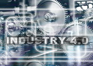 Automatisierung und Industrie 4.0 Schriftzug vor zahnrädern