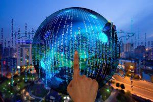 binärer code vor weltkugel in der Digitalisierung