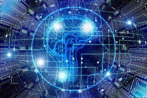 Gesicht aus elektronischen Kontakten in der Digitalisierung